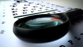 Sluit omhoog van een vergrootglas die op een oogtest vallen stock videobeelden