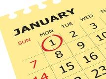 Sluit omhoog van eerste dag van het jaar op agendakalender Royalty-vrije Stock Afbeeldingen