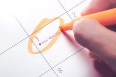 Sluit omhoog van eerste dag van het jaar 2018 op agendakalender Royalty-vrije Stock Afbeelding