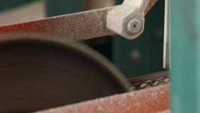 Sluit omhoog van elektrische zaag die houten raad op geautomatiseerde lijn zagen bij zaagmolen stock footage