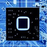 Sluit omhoog van Elektronische Kringen in Technologie op Mainboard-Hoofdraad als achtergrond, cpu-motherboard, logicaraad, systee royalty-vrije stock foto's