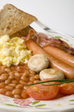 Sluit omhoog van Engels ontbijt Stock Foto