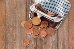 Sluit omhoog van euro muntstukken en portefeuille op lijst Stock Foto