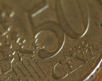 Sluit omhoog van 50 Eurocentmuntstuk B Stock Afbeelding