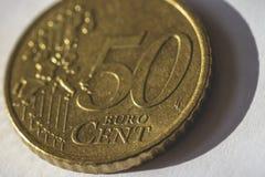 Sluit omhoog van 50 Eurocentmuntstuk C Royalty-vrije Stock Afbeelding
