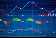 Sluit omhoog van financiën bedrijfsgrafiek Effectenbeursgegevens Stock Foto's