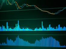 Sluit omhoog van financiën bedrijfsgrafiek Effectenbeursgegevens Royalty-vrije Stock Afbeelding