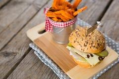 Sluit omhoog van frieten in container door cheeseburger Stock Afbeelding