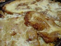 Sluit omhoog van gekookt moussaka eigengemaakt voedsel royalty-vrije stock foto
