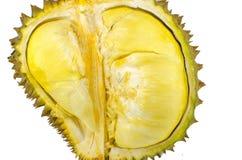 Sluit omhoog van gepelde durian geïsoleerd op witte achtergrond Stock Foto's