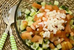 Sluit omhoog van gezonde eenvoudige salade met gehakte ui op bovenkant Royalty-vrije Stock Afbeeldingen
