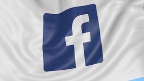 Sluit omhoog van golvende vlag met Facebook-embleem, naadloze lijn, blauwe achtergrond Redactieanimatie 4K alpha- ProRes, stock footage