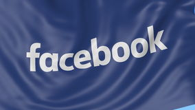 Sluit omhoog van golvende vlag met Facebook-inschrijving, naadloze lijn, blauwe achtergrond Redactieanimatie 4K alpha- ProRes, stock videobeelden