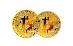 Sluit omhoog van gouden bitcoinmedailles stock afbeeldingen
