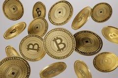 Sluit omhoog van gouden die bitcoins in de lucht als voorbeeld voor blockchain en crypto-munt concept geworpen stock foto