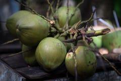 Sluit omhoog van Groen kokosnoten Exotisch Fruit in Vietnam stock fotografie