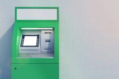 Sluit omhoog van groene ATM-machine Stock Afbeeldingen