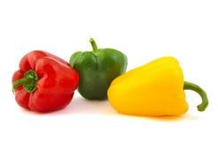Sluit omhoog van groene, rode en gele verse peper  Royalty-vrije Stock Afbeelding