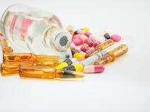 Sluit omhoog van groep diverse geneesmiddelen Stock Foto