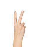Sluit omhoog van hand die vrede of overwinningsteken tonen Royalty-vrije Stock Foto's