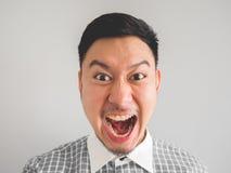 Sluit omhoog van headshot van de gekke gezichtsmens royalty-vrije stock foto