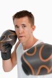 Sluit omhoog van het aanvallen van bokser Stock Foto's