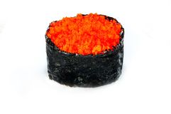 Sluit omhoog van het broodje van sashimisushi op witte achtergrond wordt geïsoleerd die royalty-vrije stock foto