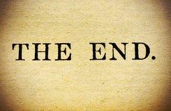 Sluit omhoog van het Eind in een uitstekend boek. Stock Foto's