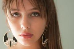 Sluit omhoog van het Gezicht van het Mooie Jonge Model Royalty-vrije Stock Foto's