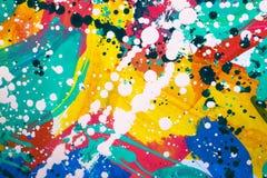 Sluit omhoog van het kleurrijke eenvoudig abstracte schilderen Royalty-vrije Stock Foto's