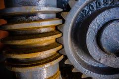 Sluit omhoog van het mechanische radertje van het zwaar metaalwiel Royalty-vrije Stock Afbeelding