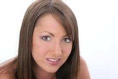 Sluit omhoog van het Mooie Jonge Betroffen Kijken van de Vrouw stock afbeeldingen