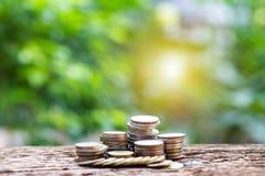 Sluit omhoog van het stapelen van muntstukken van de groei aan winstfinanci?n stock fotografie