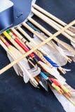 Sluit omhoog van houten pijlen Quiver van pijlen Royalty-vrije Stock Fotografie