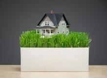 Sluit omhoog van huismodel met groen gras op tribune Stock Foto