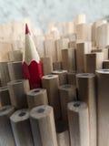 Sluit omhoog van identieke grafietpotloden en één verschillend rood Cr Royalty-vrije Stock Fotografie