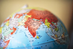 Sluit omhoog van India op bol royalty-vrije stock foto