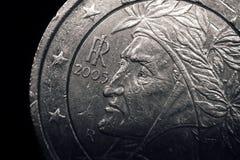 Sluit omhoog van Italiaans euro muntstuk Bedrijfs concept Royalty-vrije Stock Afbeelding