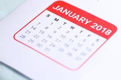 Sluit omhoog van Januari 2018 Stock Afbeelding