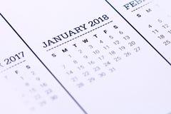 Sluit omhoog van Januari 2018 Royalty-vrije Stock Afbeeldingen