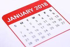 Sluit omhoog van Januari 2018 Stock Foto's