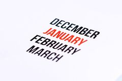 Sluit omhoog van Januari Stock Foto