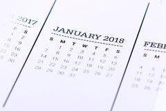 Sluit omhoog van Januari 2018 Royalty-vrije Stock Foto