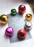 Sluit omhoog van januari 2018 op agendakalender Stock Fotografie