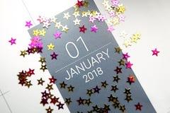 Sluit omhoog van januari 2018 op agendakalender Royalty-vrije Stock Foto's