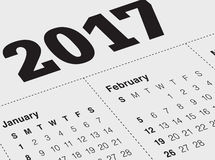 Sluit omhoog van Januari 2017 op agendakalender Stock Foto's