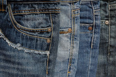 Sluit omhoog van jeans` s stapel stock afbeeldingen