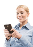 Het gebruiken van slimme telefoon Royalty-vrije Stock Afbeelding