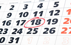 Sluit omhoog van kalenderpagina Royalty-vrije Stock Foto's