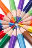 Groep kleurenpotloden Stock Foto's